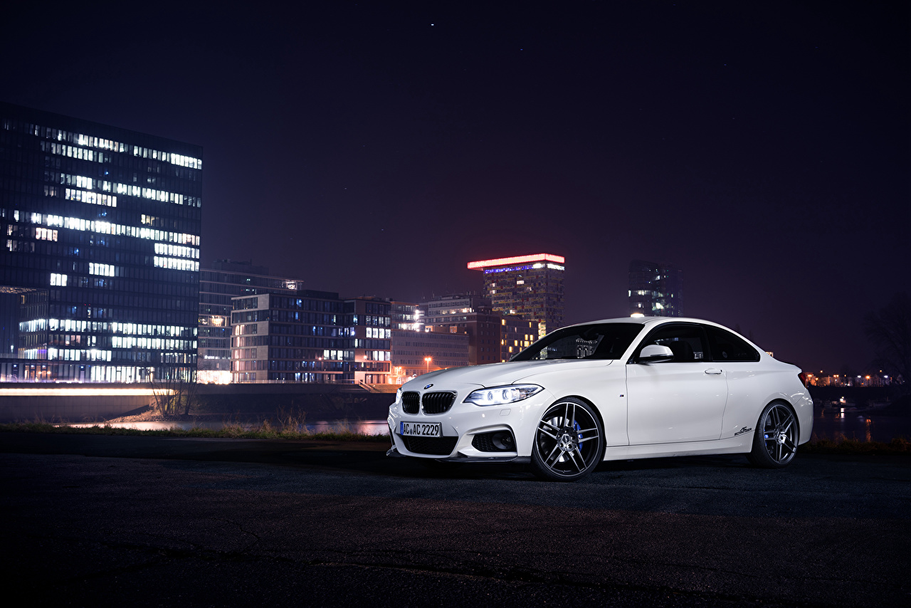 Images BMW 2014 AC Schnitzer ACS2 F22 White Cars Night auto night time automobile