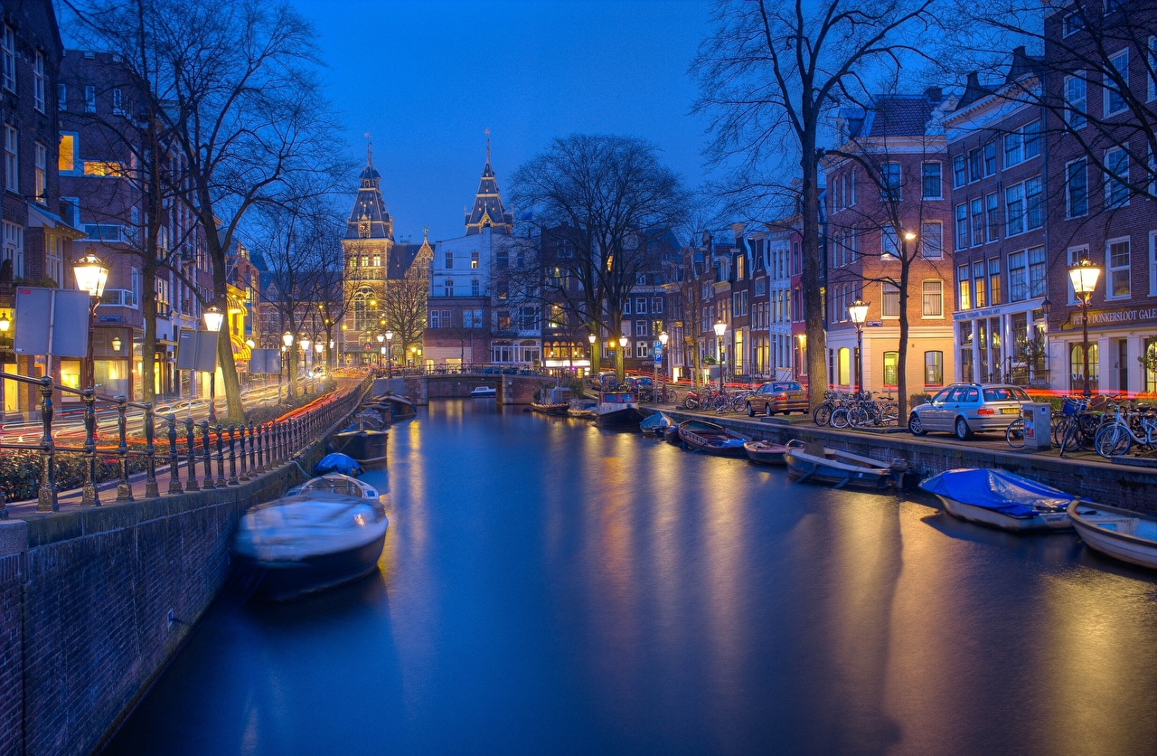 Wallpaper Amsterdam Netherlands Canal Street Evening Motorboat Waterfront Cities Building speedboat powerboat Houses