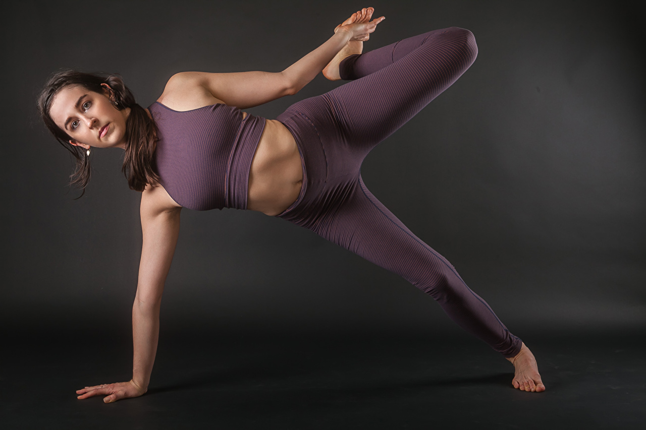 Image Brown haired Yoga Pose Fitness young woman Legs Hands posing Girls female