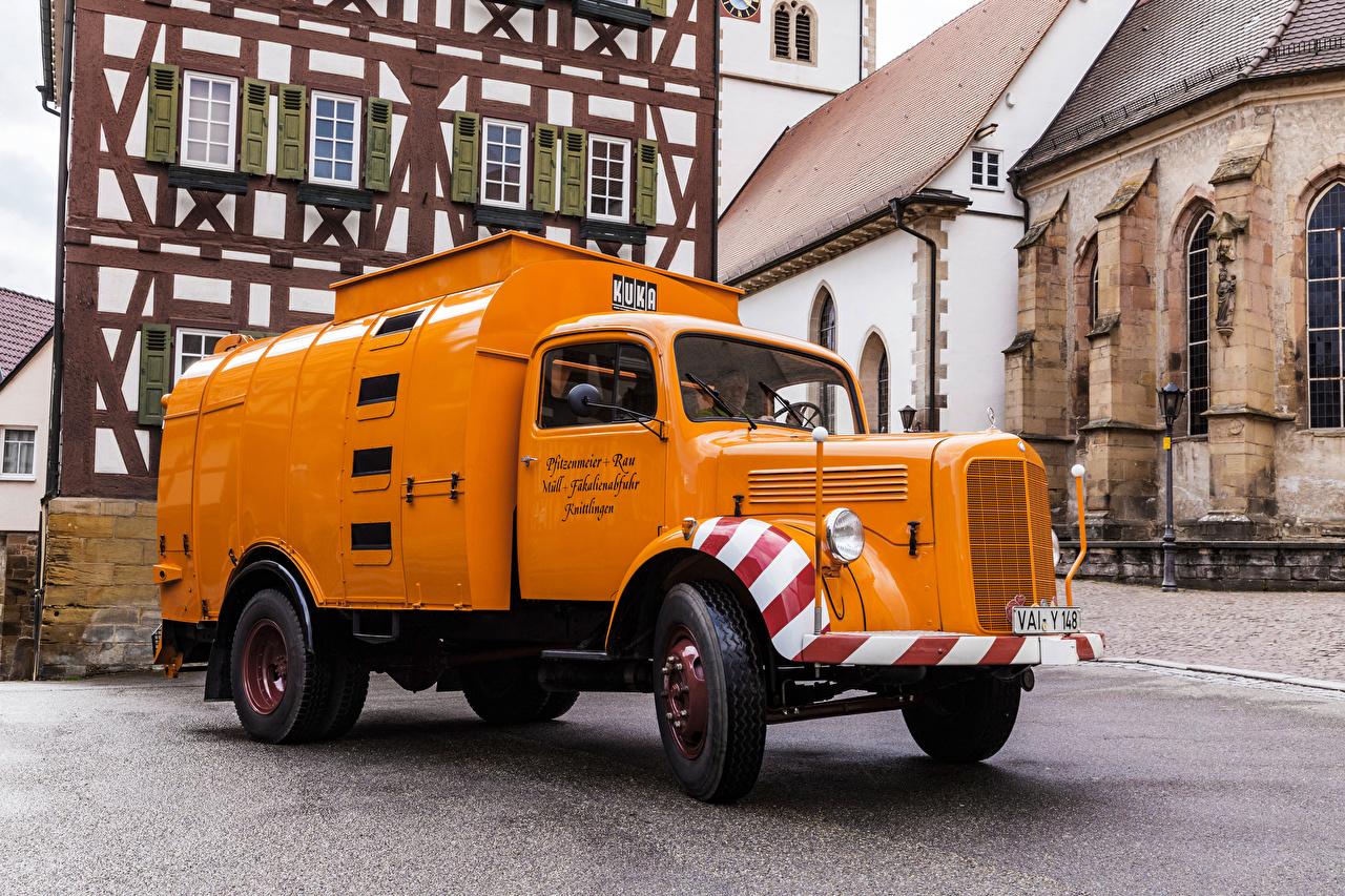Wallpaper lorry Mercedes-Benz Retro Orange automobile Trucks vintage antique Cars auto
