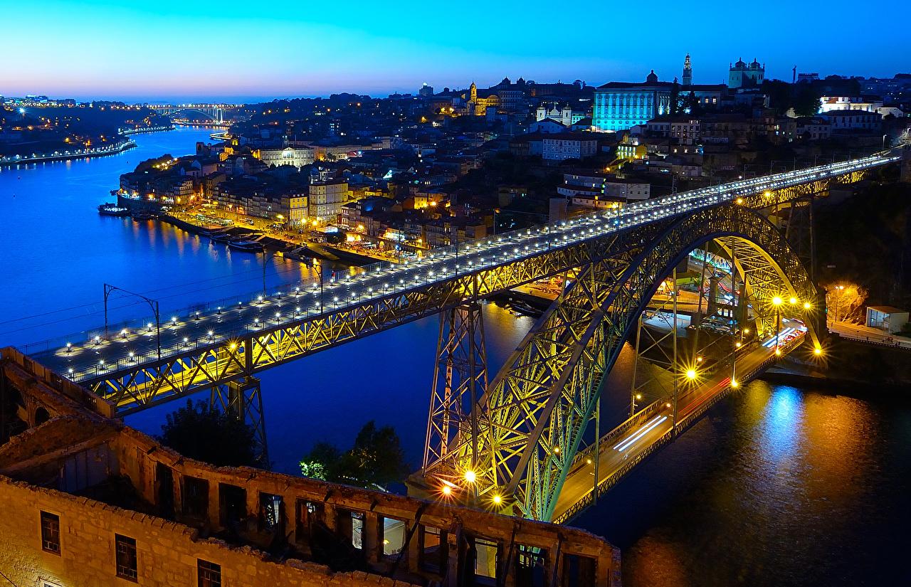 Image Porto Portugal Bridges Rivers Evening Street lights Houses Cities Oporto bridge river Building
