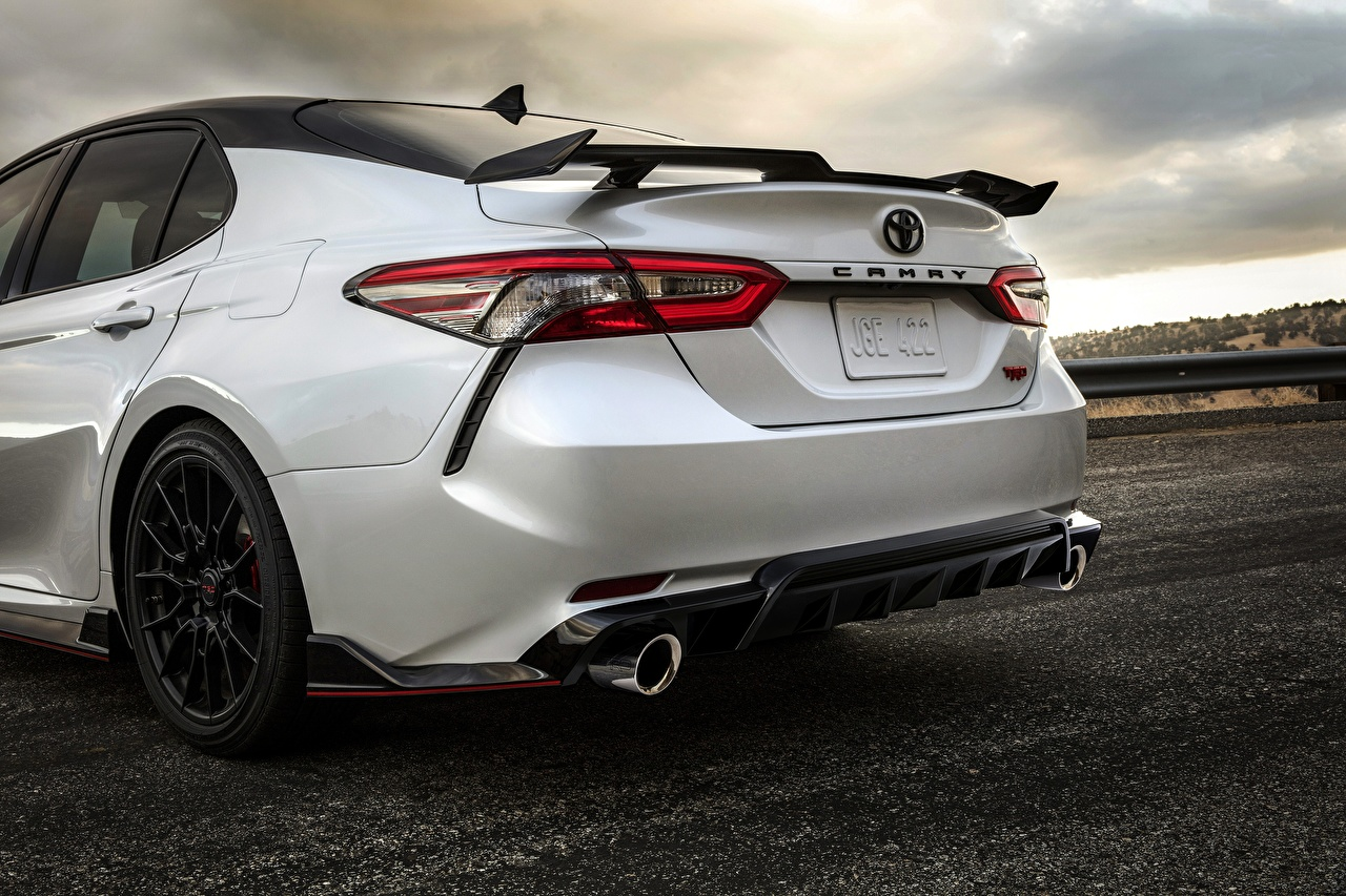 Images Toyota TRD Camry 2020 Sedan White Cars Back view auto automobile