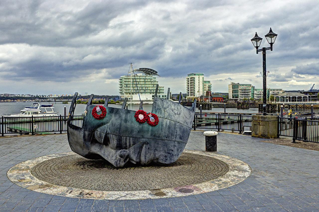 Foto Denkmal Vereinigtes Königreich Cardiff Straßenlaterne Städte Gebäude Haus