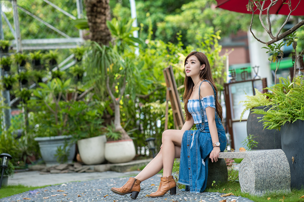 Desktop Wallpapers Brown haired female Legs Asian Bench Sitting Girls young woman Asiatic sit