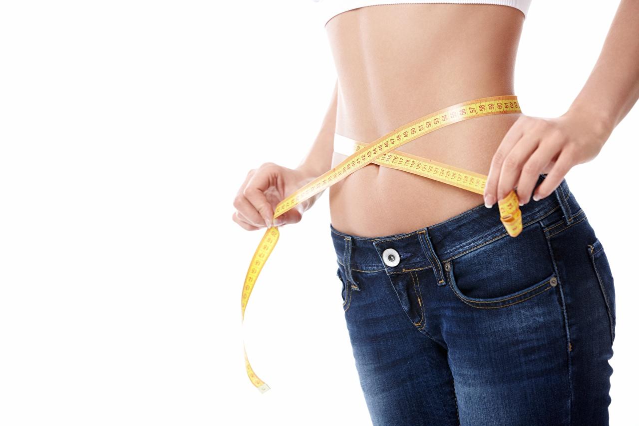 Bilder von Diät Messband junge frau Jeans Hand Bauch Weißer hintergrund Maßband Mädchens junge Frauen