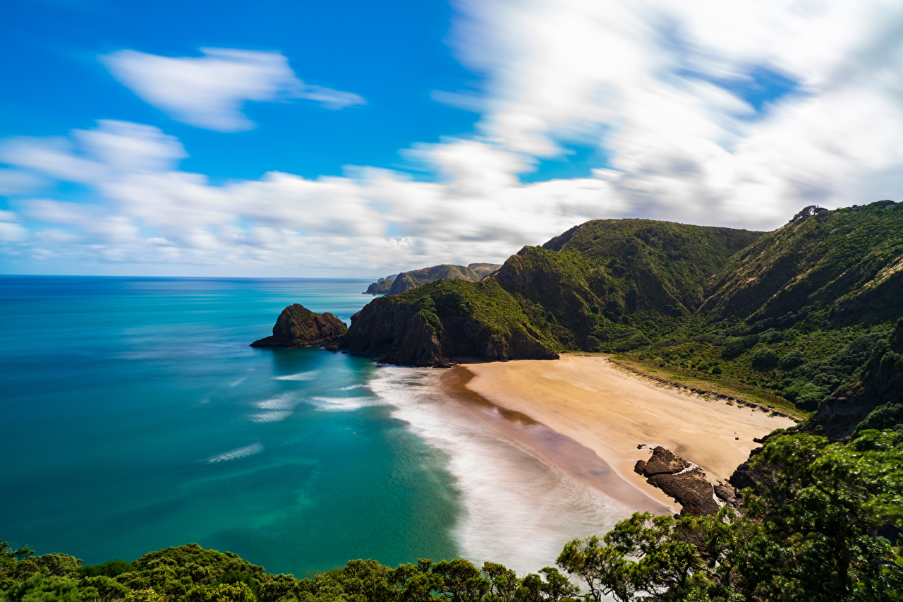 Wallpaper New Zealand Piha Beach beaches Nature Coast Clouds