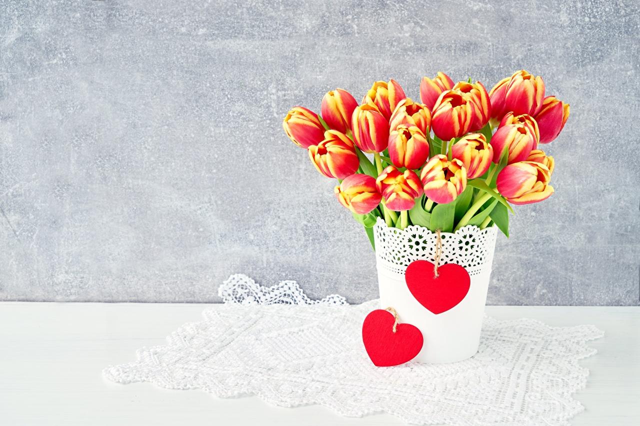 Fotos von Herz Tulpen Blüte Vorlage Grußkarte Blumen