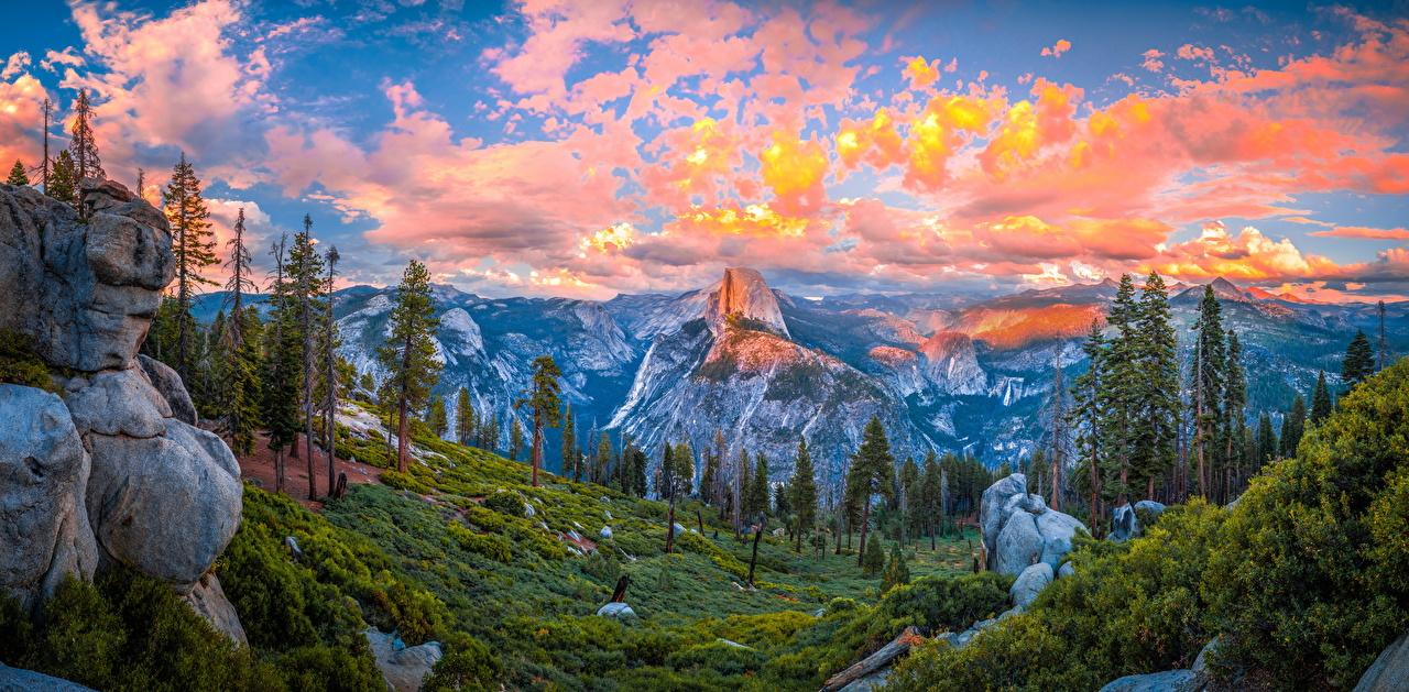 Foto Yosemite Californië verenigde staten Panorama Bergen Natuur park Hemelgewelf Landschap van Bomen Wolken Amerika panoramische berg Parken Een boom