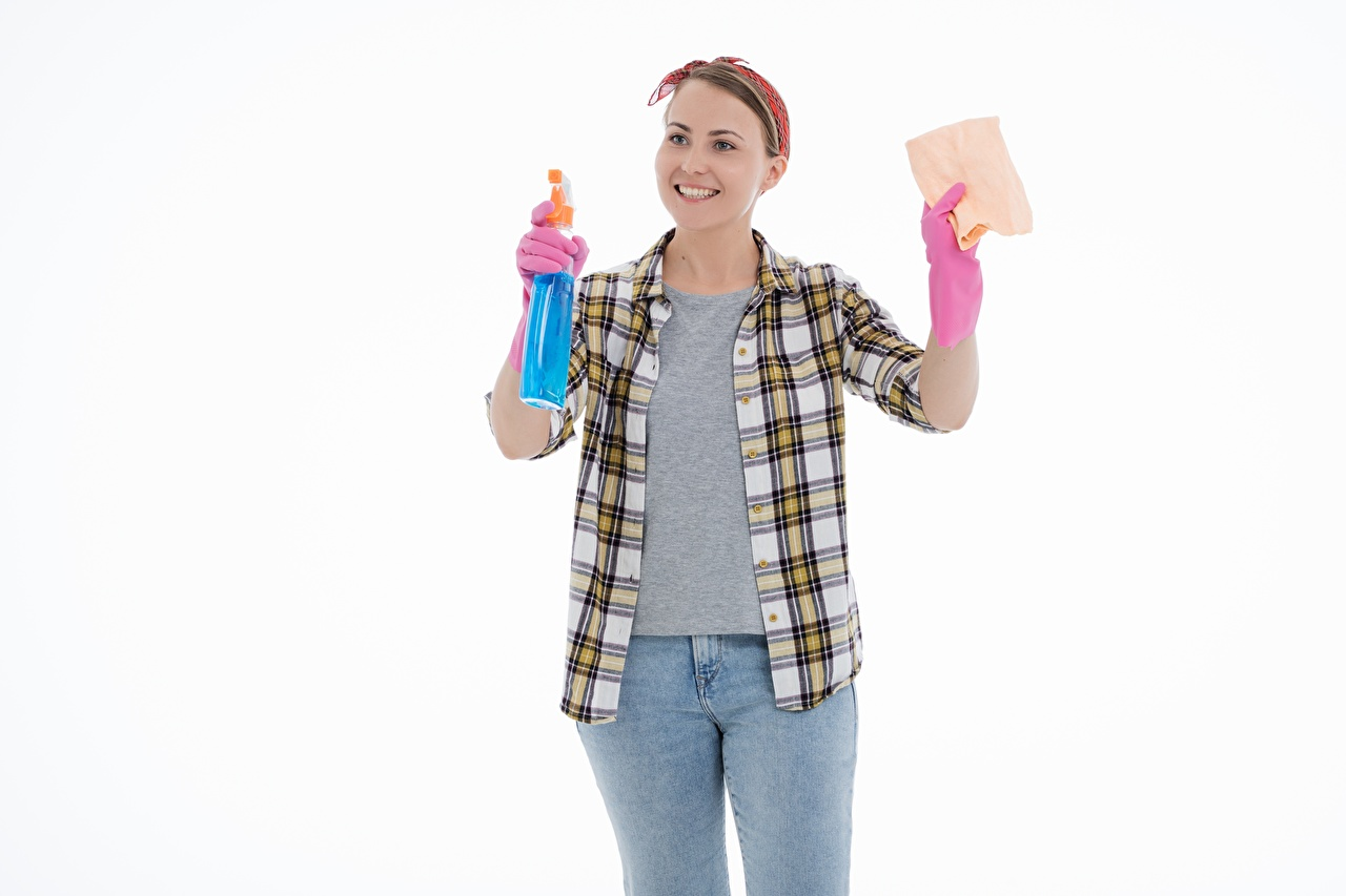 Wallpaper young woman Brown haired Smile Glove Formal shirt Cleaning lady Jeans Hands White background Girls female