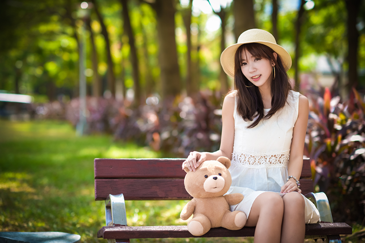 Pictures Brunette girl blurred background Hat female Asiatic Teddy bear sit Bench frock Bokeh Girls young woman Asian Sitting gown Dress