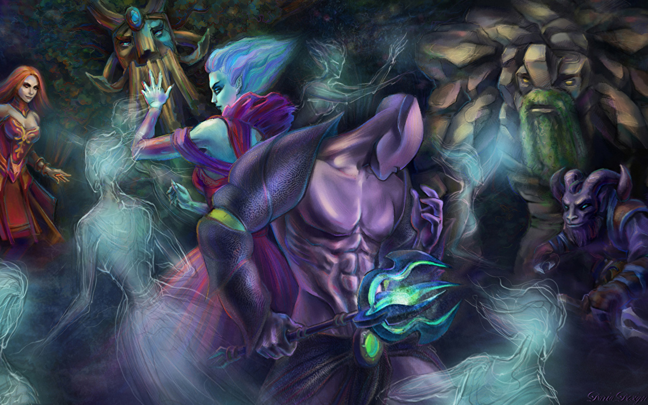 Photo Dota 2 Tiny Riki Lina Death Prophet Faceless Void Treant