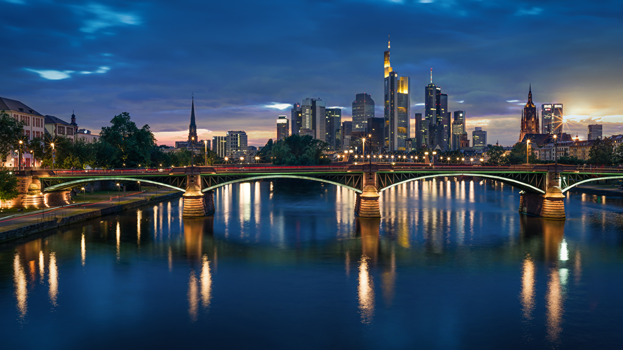 Wallpaper Frankfurt Germany Bridges river Night Cities bridge Rivers night time