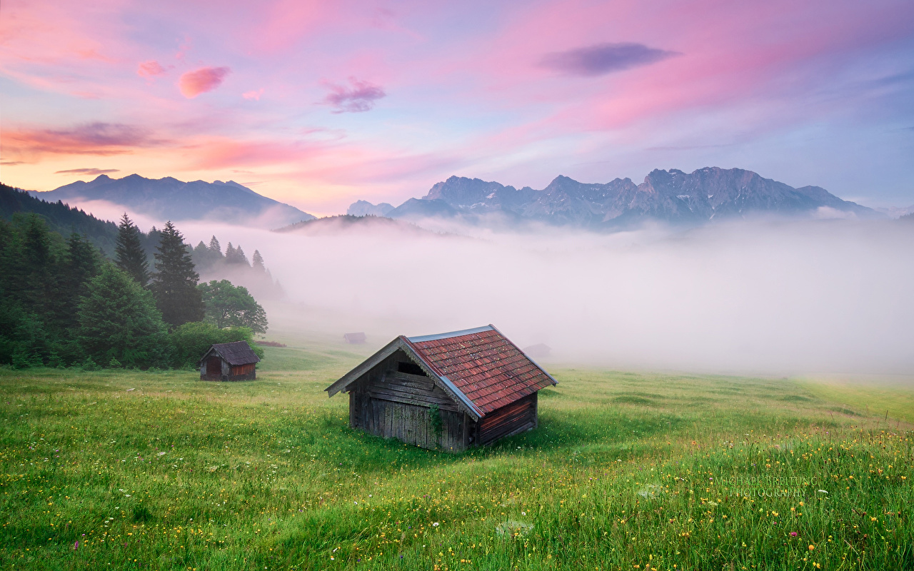 Images Bavaria Alps Germany Michael Breitung Fog Nature mountain Grass Houses Mountains Building