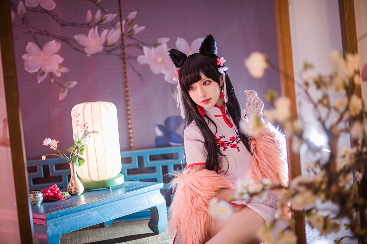Desktop Wallpapers Brunette girl Japanese cosplayers blurred background Girls Asiatic Sitting Staring costume play Bokeh female young woman Asian sit Glance