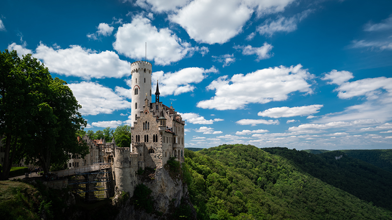 Photo Alps Austria towers Castle Lichenstein Nature castle Mountains Sky Clouds Tower Castles mountain