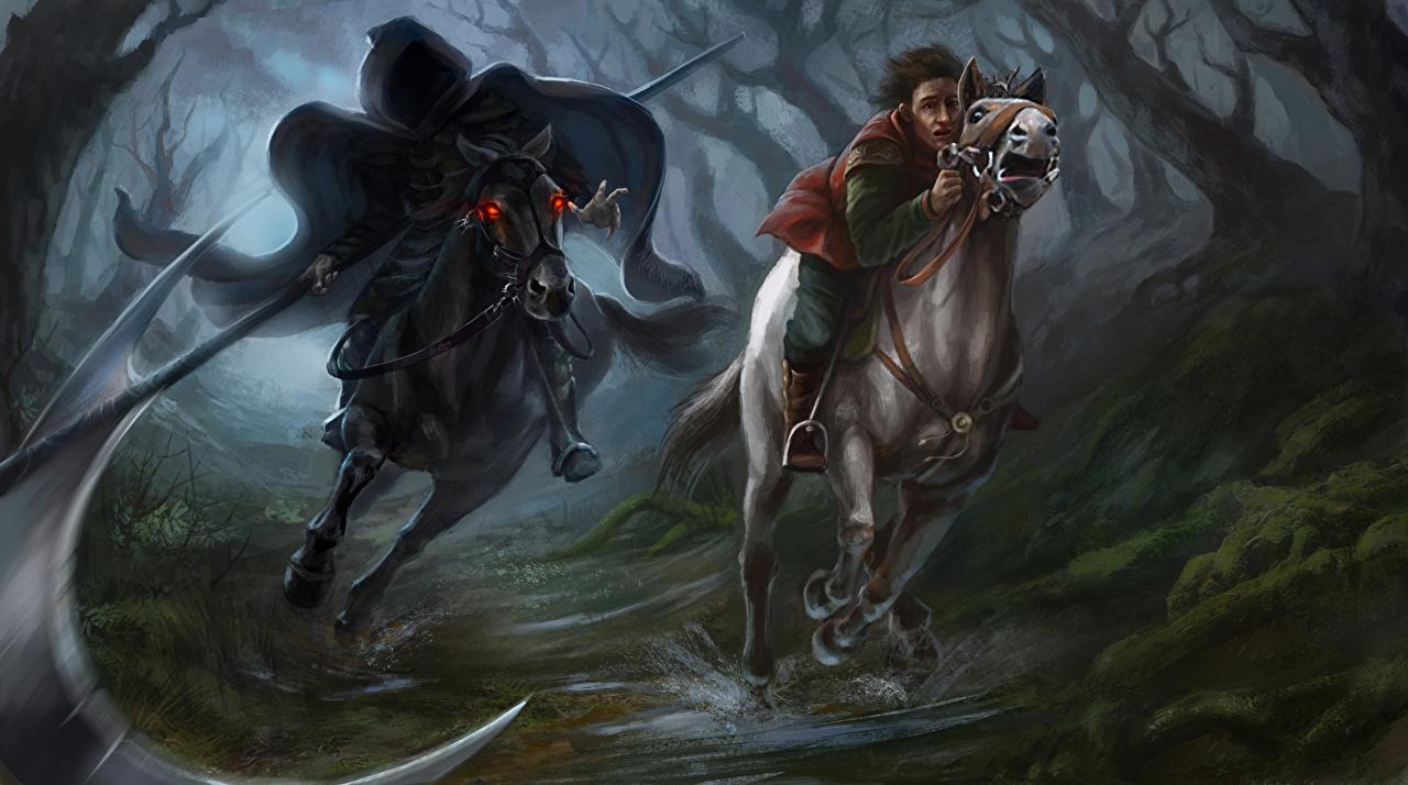 Images Horses Scythe Demons personification Two Fantasy horse demon Death Grim Reaper 2