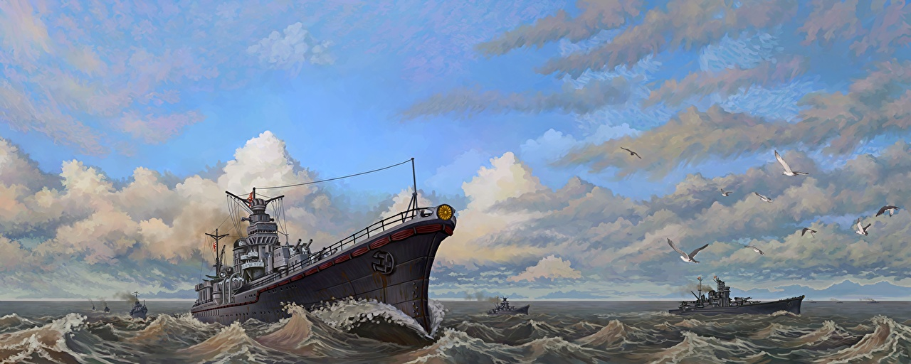 Desktop Wallpapers Vice Admiral Sentaro Omori's Task Force Sky Ships Waves Clouds Painting Art Army ship military