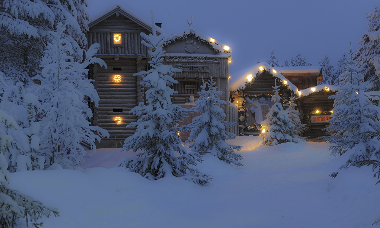 Picture Finland Snow Night Trees Houses Cities night time Building