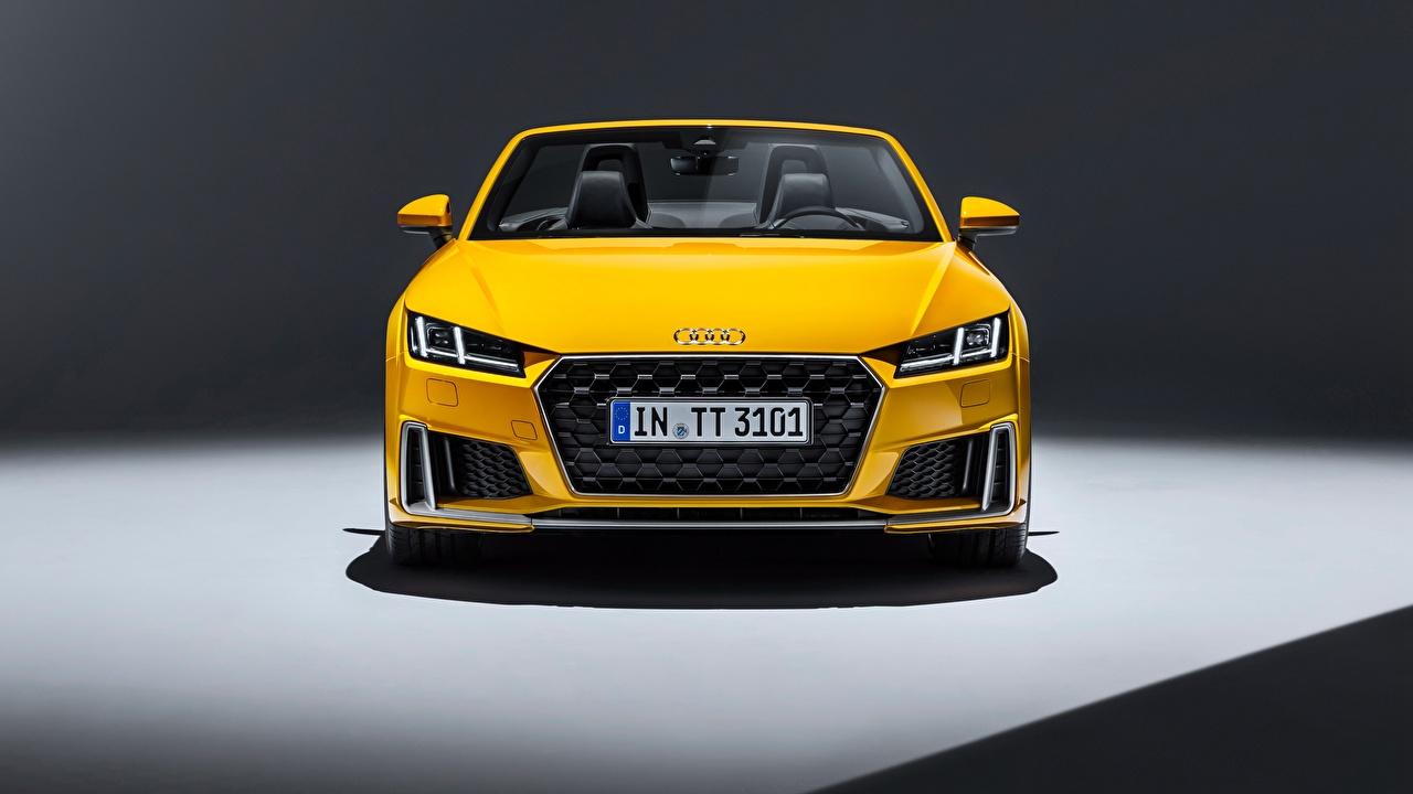 Fotos Audi 2018 TTS Roadster Gelb Autos Vorne