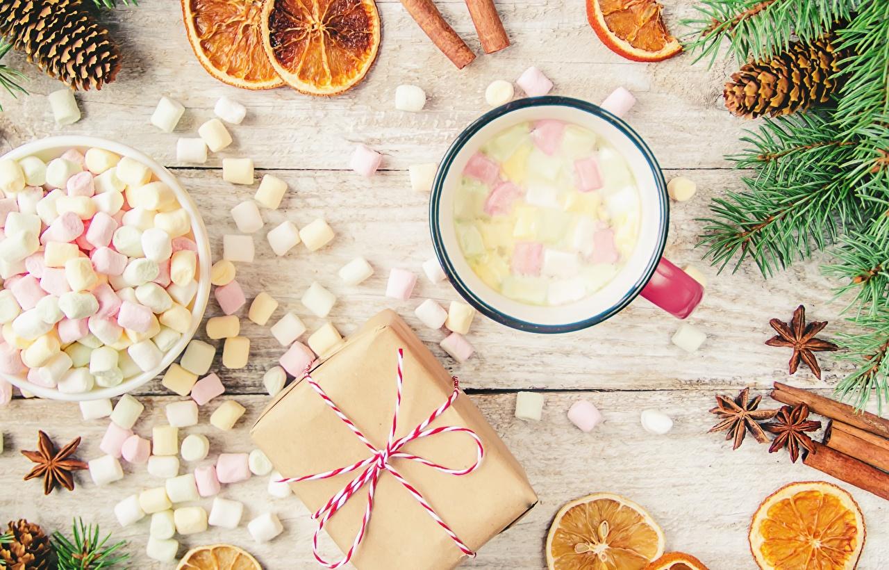 Image New year Marshmallow Gifts Mug Food Christmas present