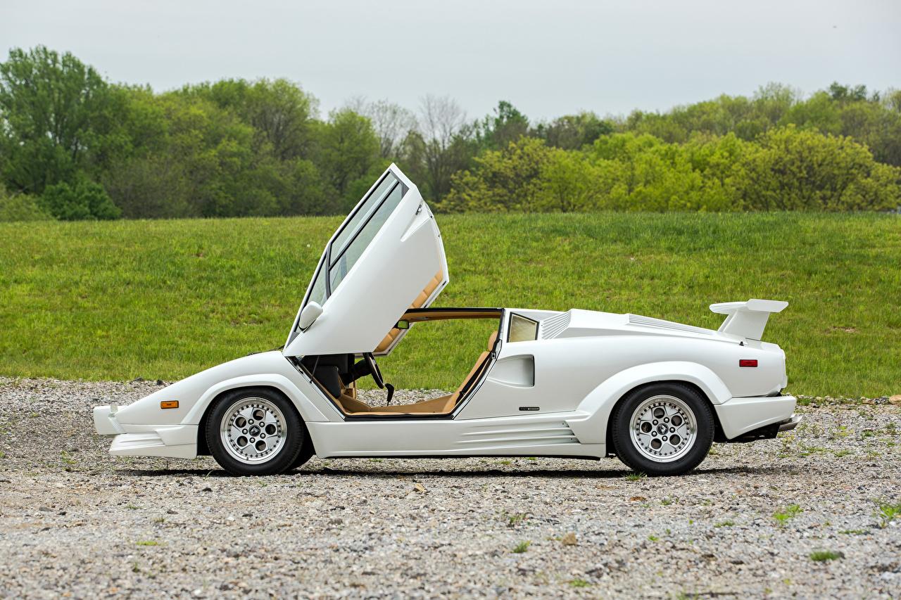 Pictures automobile Lamborghini 1988-90 Countach -25 Anniversario Bertone White antique Side Opened door Cars auto Retro vintage