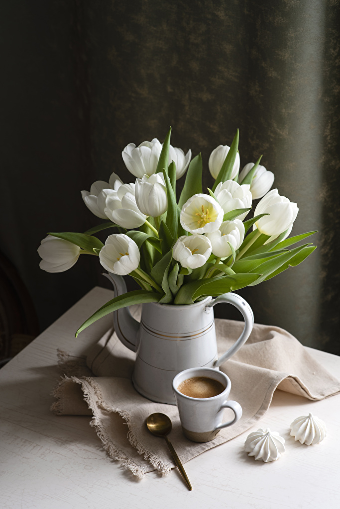 Desktop Wallpapers Zefir White Tulips Coffee flower Cup Vase Spoon Still-life  for Mobile phone tulip Flowers