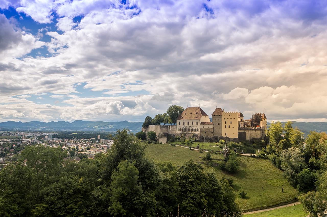 Bilder Schweiz Lenzburg Castle Burg Himmel Wolke Städte Landschaftsbau