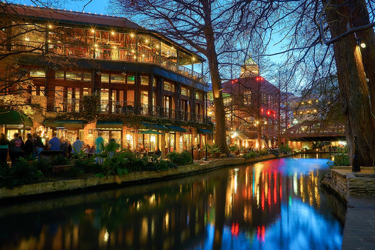 Bilder von Texas USA San Antonio Kanal Nacht Straßenlaterne Haus Städte Vereinigte Staaten Gebäude