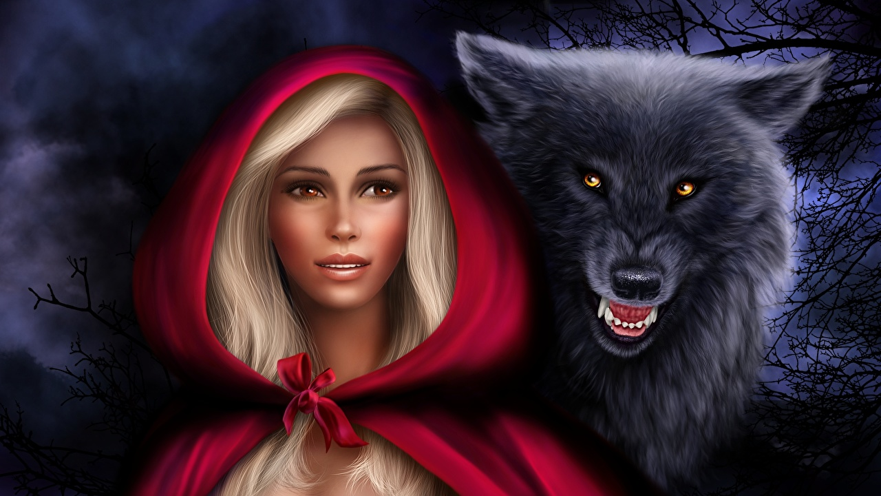Photos Girls Wolf Blonde Girl Little Red Riding Hood Fantasy