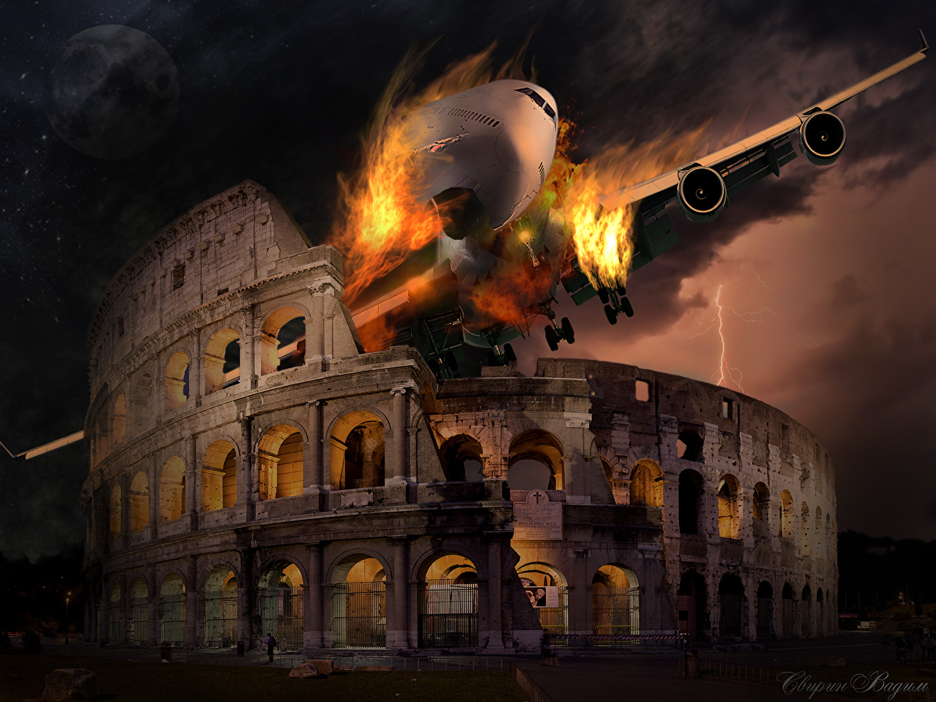 Pictures Rome Colosseum Italy Arch Fantasy disaster Cities Disasters