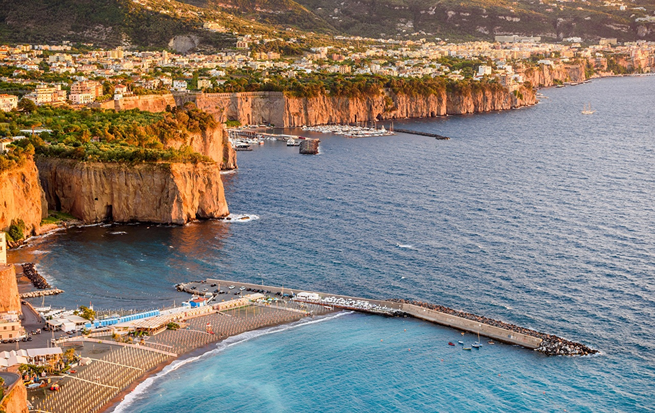 Image Italy Sorrento, Campania, Naples Sea Pier Coast From above Cities Berth Marinas