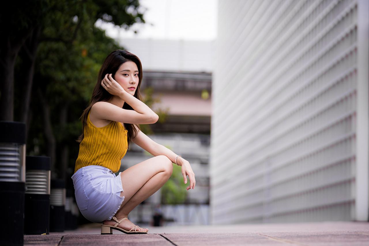 Tapeta Bokeh pozować młode kobiety Azjaci siedzą wzrok rozmazane tło Poza dziewczyna Dziewczyny młoda kobieta azjatycka Siedzi Spojrzenie