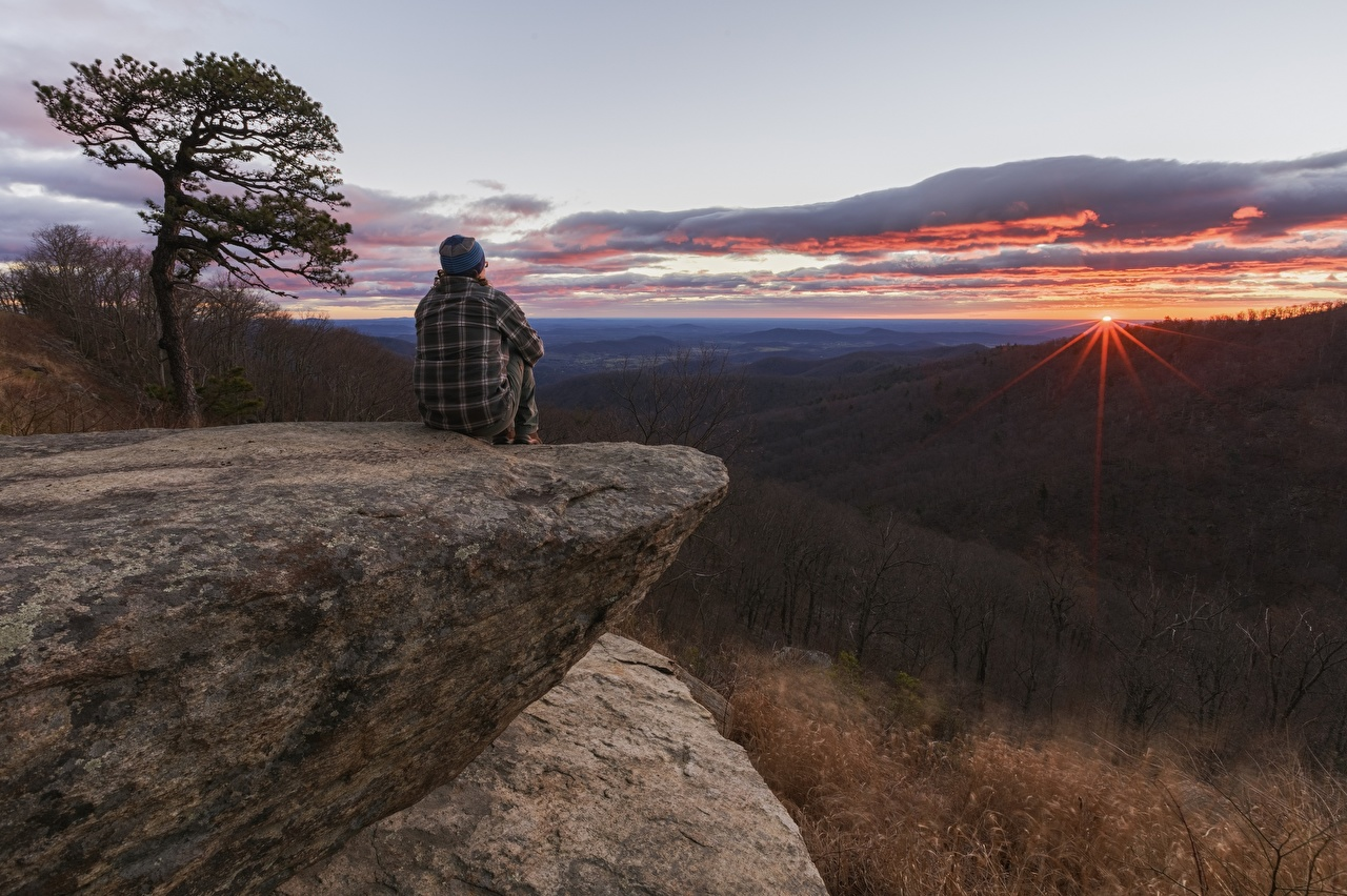 Images Crag Nature Hill forest Sunrises and sunsets sit Rock Cliff Forests sunrise and sunset Sitting