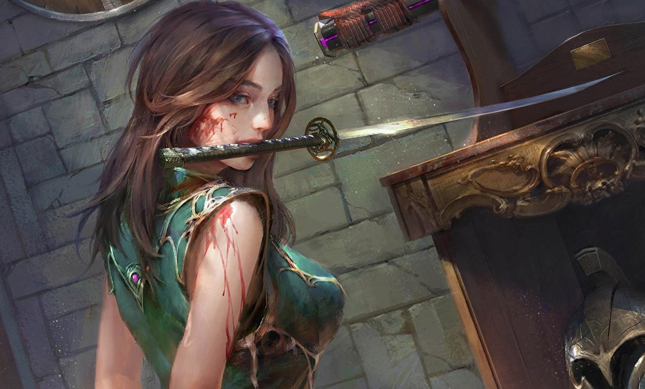 Fotos Schwert Braune Haare Blut Katana Fantasy Mädchens Gezeichnet Braunhaarige junge frau junge Frauen