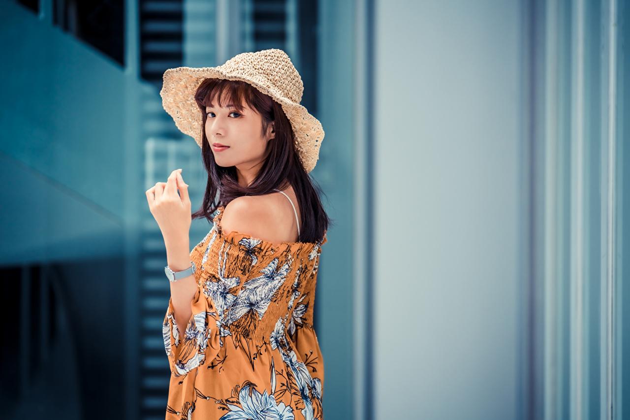 Bilder Braunhaarige Bluse Der Hut junge frau Asiatische Hand Blick Braune Haare Mädchens junge Frauen Asiaten asiatisches Starren