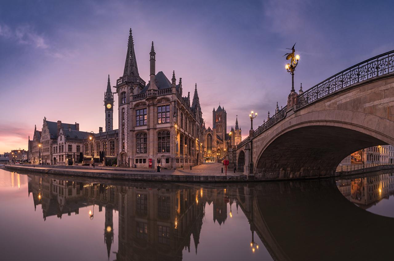 Photo Ghent Belgium Bridges Rivers Evening Street lights Cities Building bridge river Houses