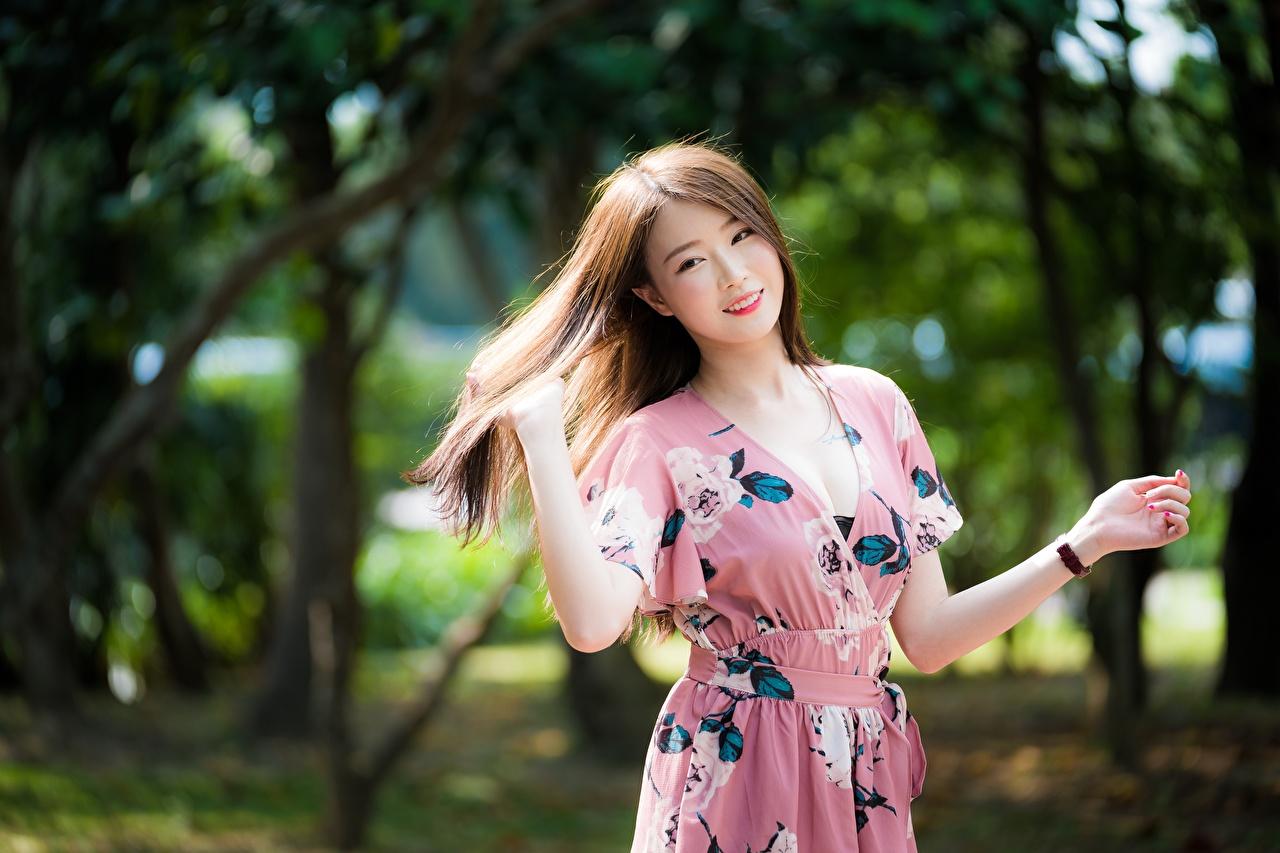 Desktop Hintergrundbilder Braune Haare Lächeln unscharfer Hintergrund Mädchens asiatisches Hand Kleid Braunhaarige Bokeh junge frau junge Frauen Asiaten Asiatische