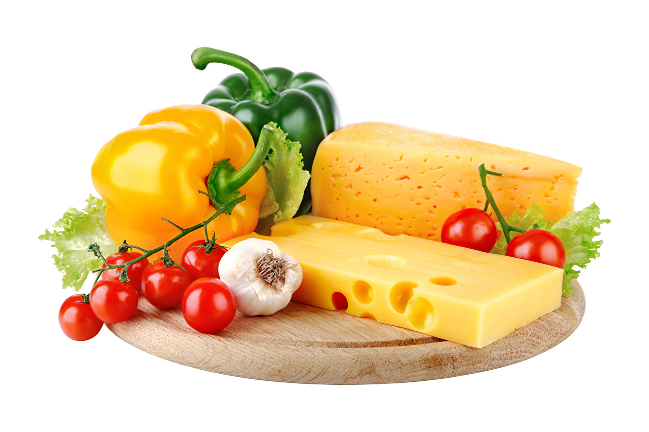 Pictures Tomatoes Cheese Allium sativum Food Bell pepper White background Garlic