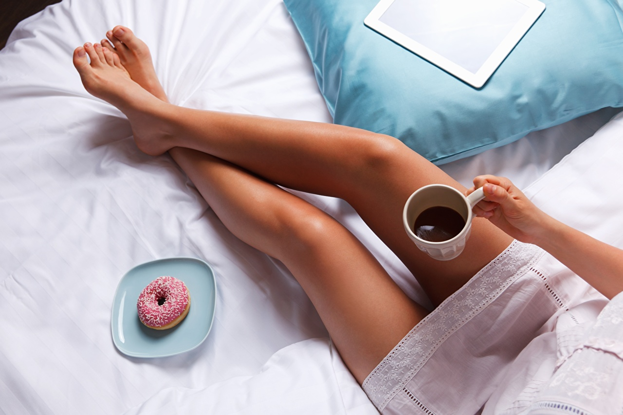 Desktop Wallpapers Girls Donuts Coffee Legs female Doughnut young woman