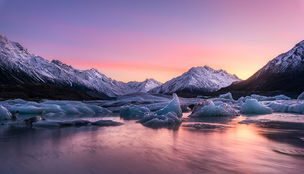 Wallpaper New Zealand Lake Tasman Ice Nature Sunrises and sunsets sunrise and sunset