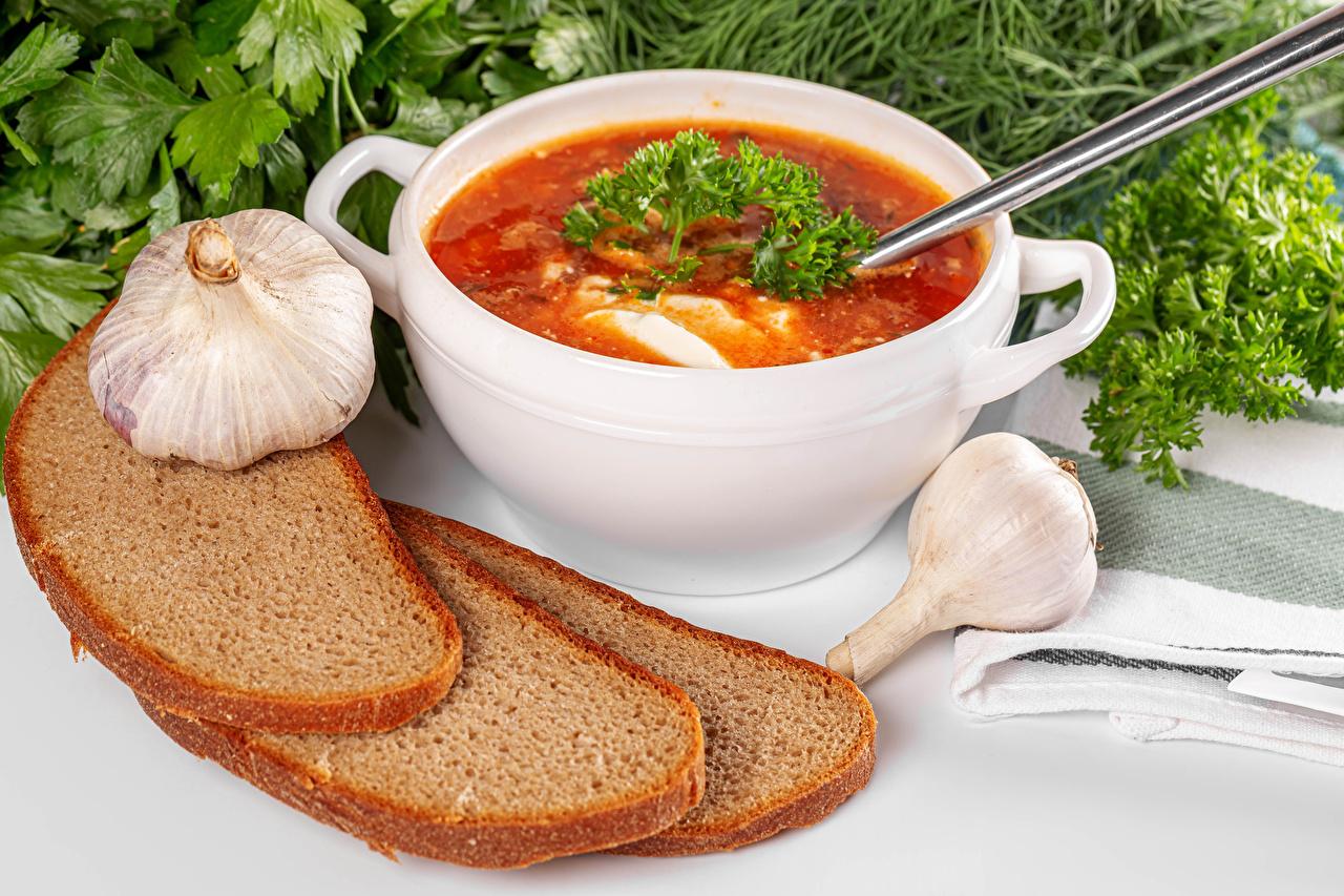 Photo Borscht Bread Allium sativum Food Soups Garlic