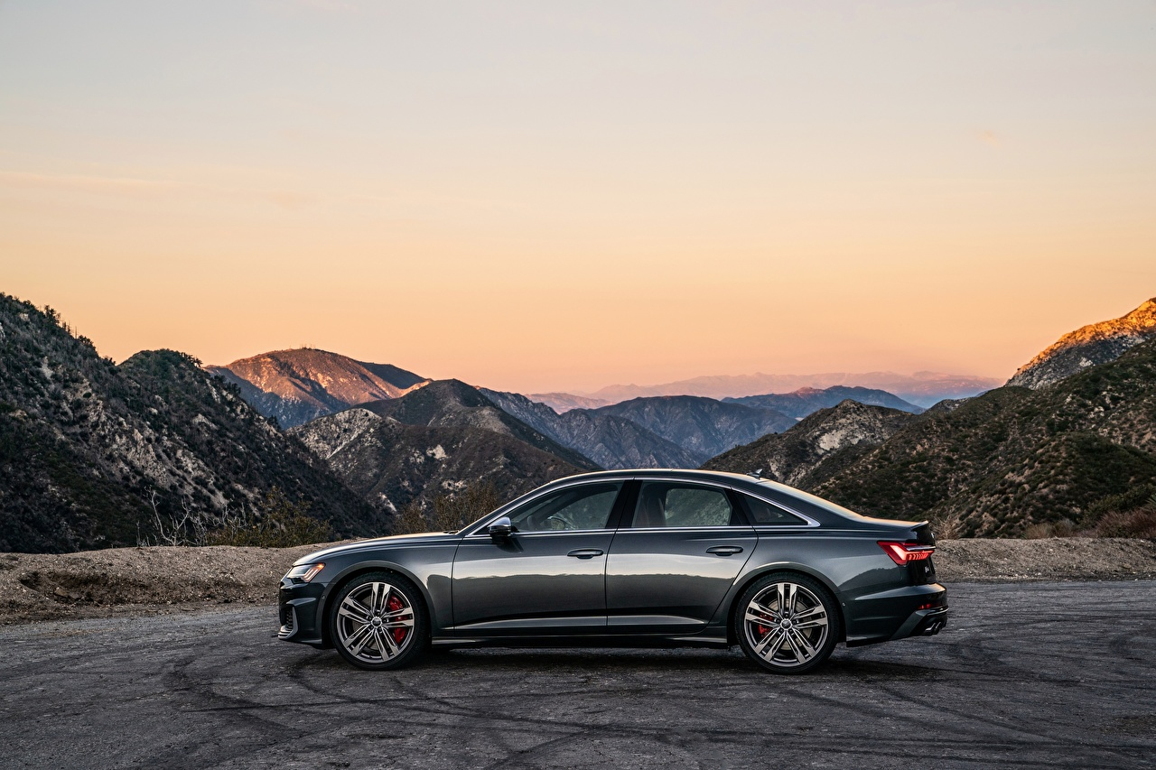 Photo Audi 2020, S6, US-version Sedan Mountains Side Cars Metallic mountain auto automobile