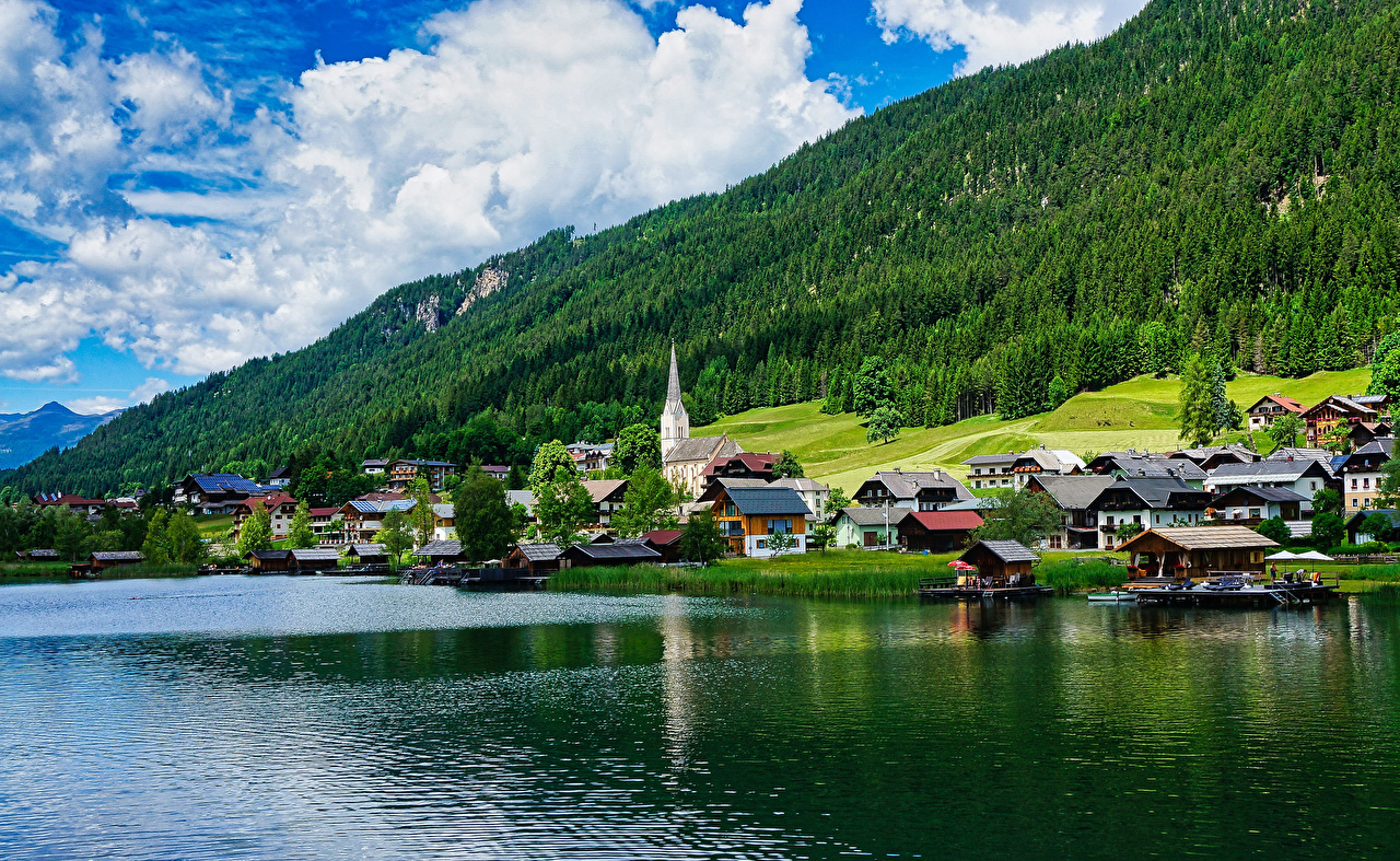 Images Austria Neusach on Lake Weissensee Forests Coast Cities Building forest Houses