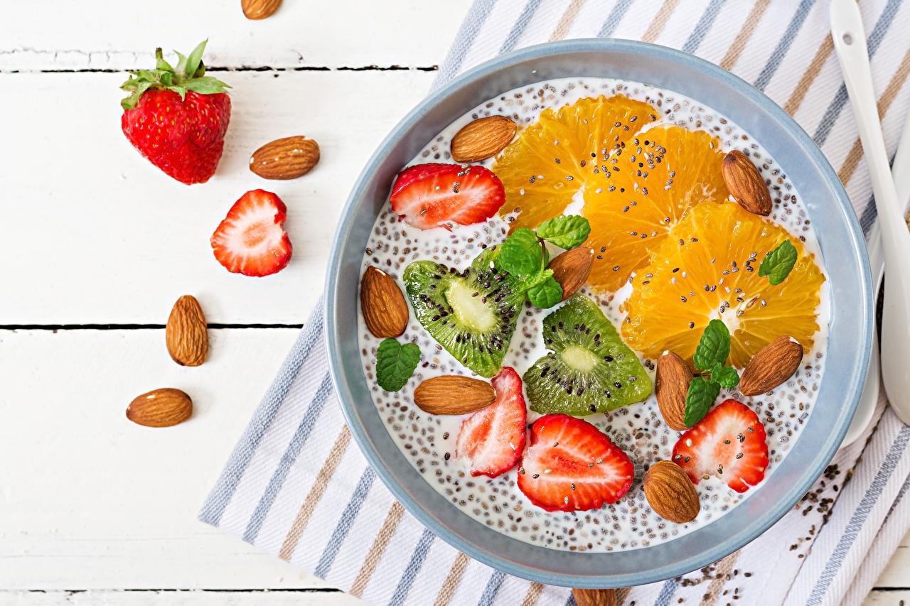 Pictures chia Breakfast Orange fruit Kiwi Strawberry Food Nuts Kiwifruit Chinese gooseberry