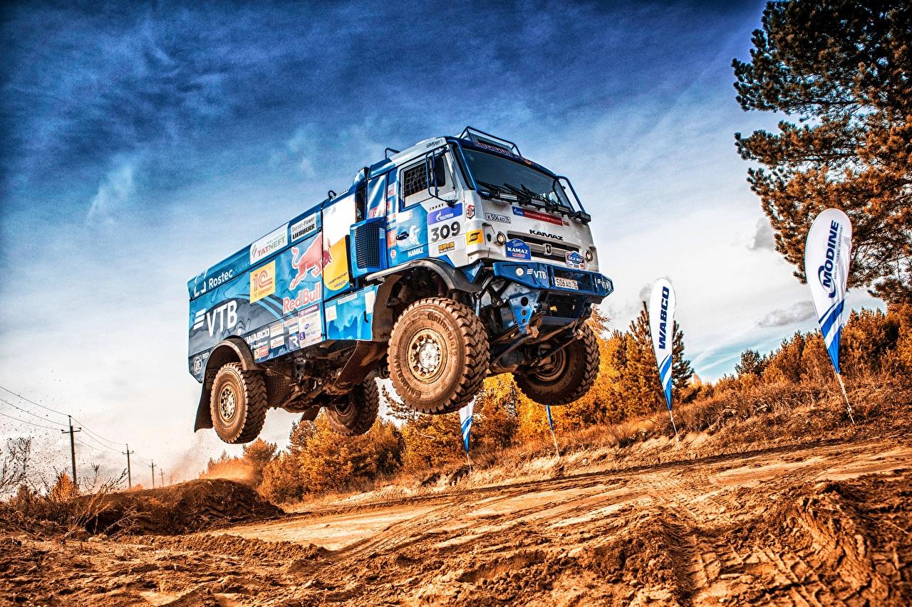 Photo lorry KAMAZ 309 SilkWay Dakar HDR auto Trucks HDRI Cars automobile