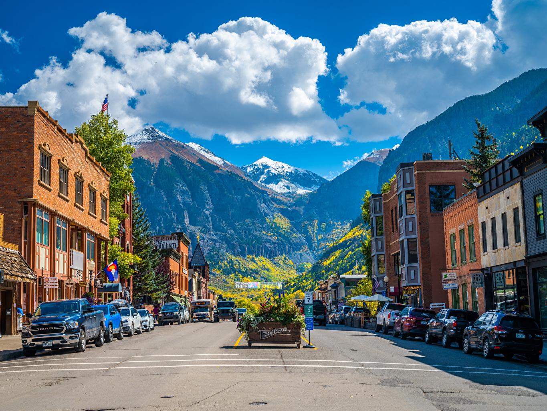 Foto Vereinigte Staaten Town of Telluride, Colorado Berg Straße Wolke Städte Gebäude USA Gebirge Stadtstraße Haus