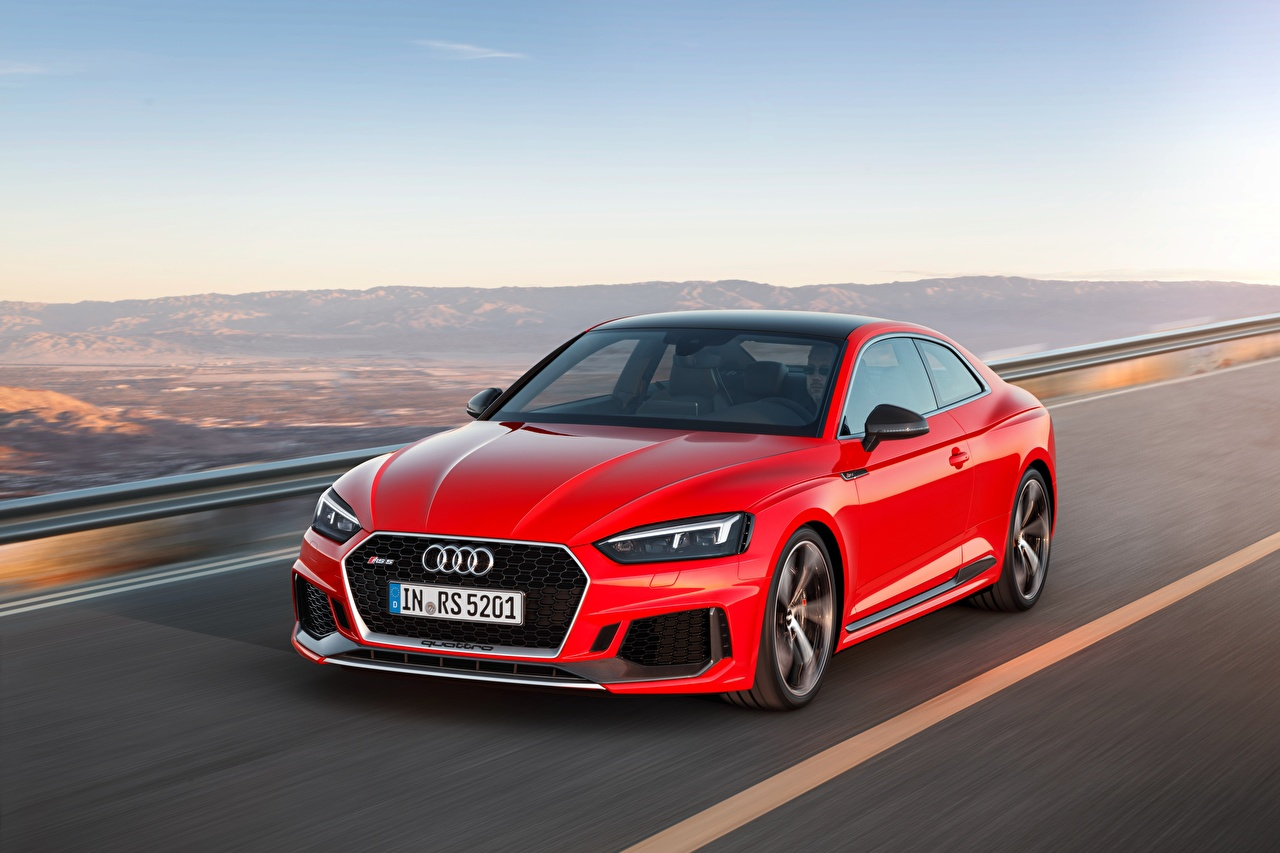 Image Audi Red at speed Cars Metallic moving riding Motion driving auto automobile