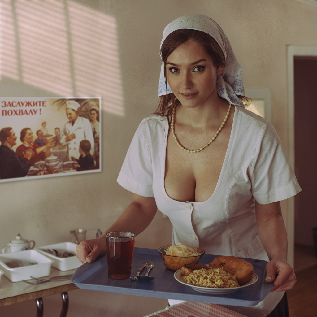 Photos Tray decollete Beautiful female Breakfast Staring neckline Décolletage Girls young woman Glance