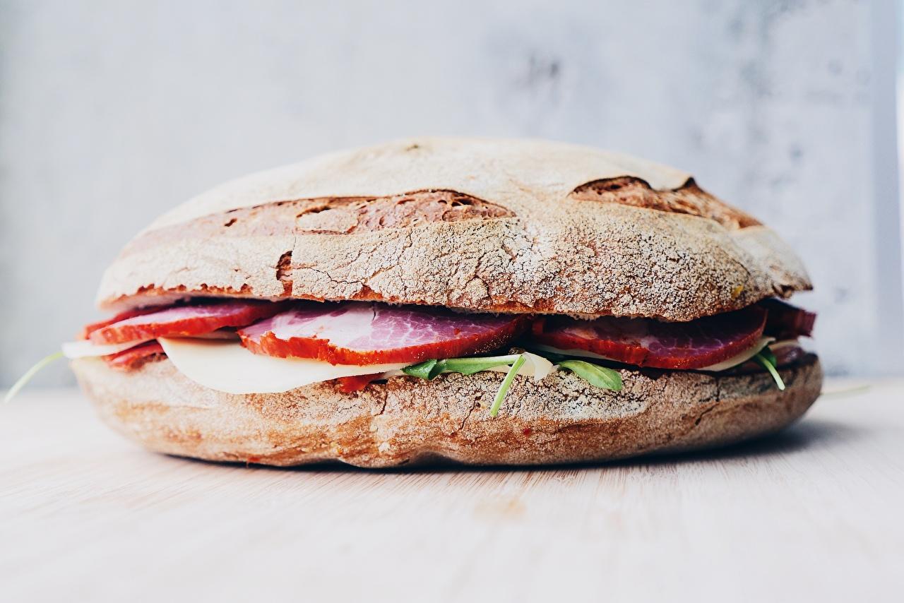 Fotos Hamburger Schinken Brötchen das Essen hautnah Burger Lebensmittel Nahaufnahme Großansicht