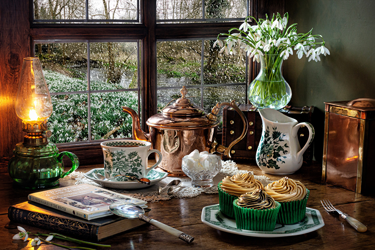 Wallpaper Kerosene lamp Kettle pitcher Snowdrops Cup Vase Book Food Still-life Little cakes paraffin lamp jugs Galanthus Jug container books